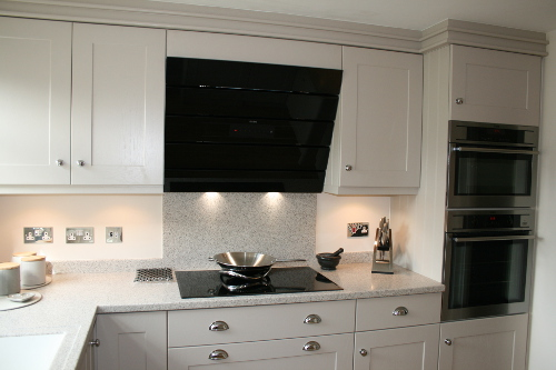Angled Glass Extractor Over Induction Hob