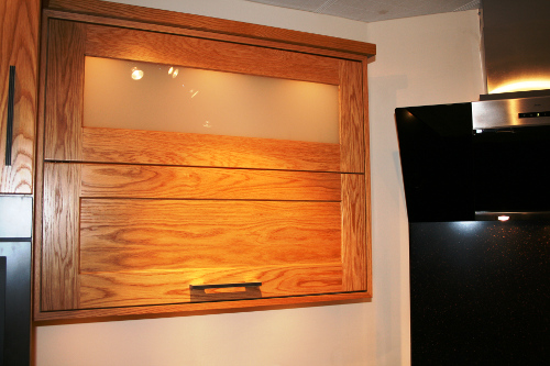 Bi-Fold Wall Cupboard With Misted Glass Panel