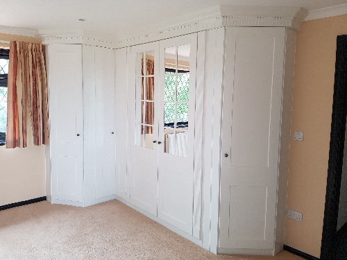 Hand Painted Mirrored Wardrobe Flanked By Pillasters