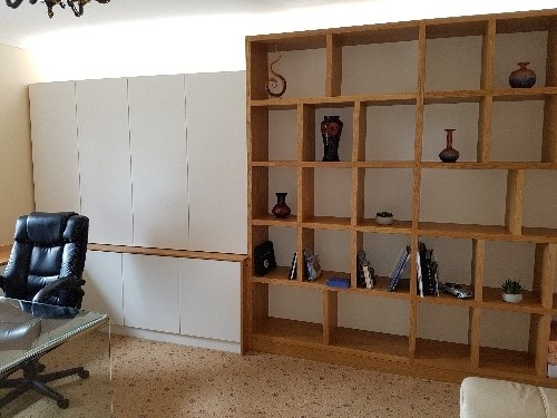 Home Office With 40mm Oak Shelving