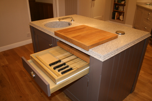 Island With Knife Drawer And Chopping-Board