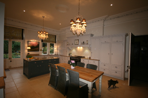 Kitchen Complimented By Classic Chandeliers