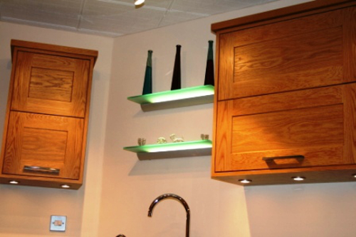 Oak Wall Cupboards And LED Glass Shelves