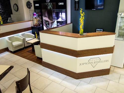 Reception Desk With Corporate Logo