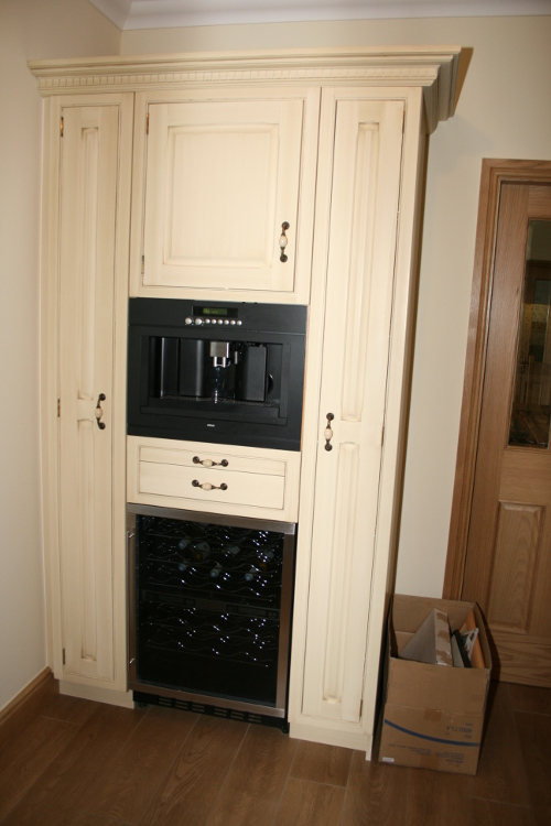 Tall Larders With Wine Cooler And Coffee Machine