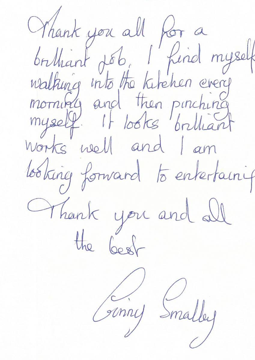 Cumbria Kitchen Furniture Customer Thank You Letters
