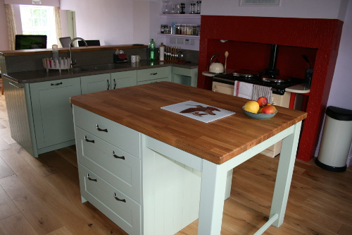 Traditional Kitchen Island With Solid Oak Worktop