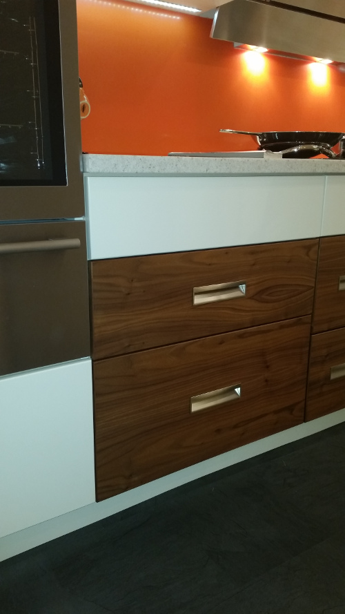 Walnut Pan Drawer Units With St-St Recess Handle Pulls