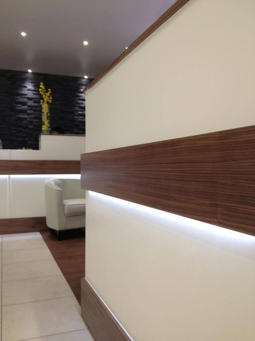 Walnut Trimmed Reception Desk With LED Lighting